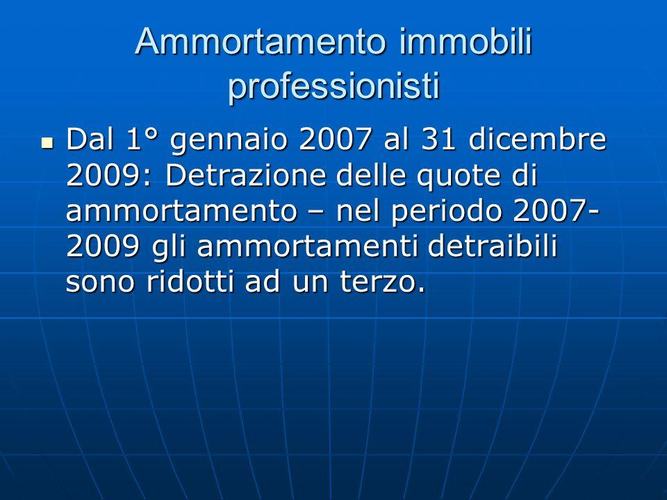 Ammortamento immobili professionisti Dal 1° gennaio 2007 al 31 dicembre 2009: Detrazione delle quote di ammortamento – nel periodo 2007- 2009 gli ammortamenti detraibili sono ridotti ad un terzo.