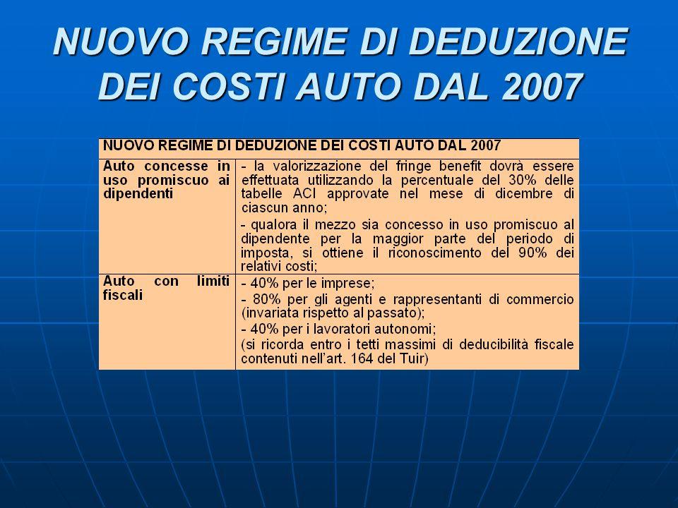 NUOVO REGIME DI DEDUZIONE DEI COSTI AUTO DAL 2007