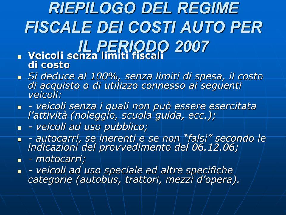 RIEPILOGO DEL REGIME FISCALE DEI COSTI AUTO PER IL PERIODO 2007 Veicoli senza limiti fiscali di costo Veicoli senza limiti fiscali di costo Si deduce