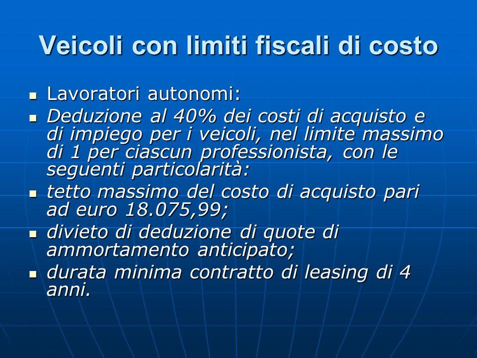 Veicoli con limiti fiscali di costo Lavoratori autonomi: Lavoratori autonomi: Deduzione al 40% dei costi di acquisto e di impiego per i veicoli, nel l