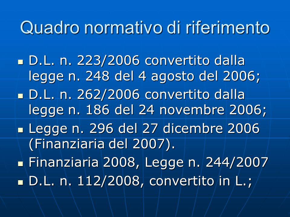 Quadro normativo di riferimento D.L. n. 223/2006 convertito dalla legge n. 248 del 4 agosto del 2006; D.L. n. 223/2006 convertito dalla legge n. 248 d