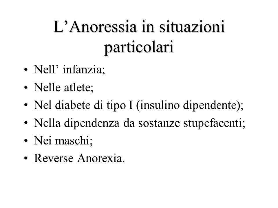 L'Anoressia in situazioni particolari Nell' infanzia; Nelle atlete; Nel diabete di tipo I (insulino dipendente); Nella dipendenza da sostanze stupefacenti; Nei maschi; Reverse Anorexia.