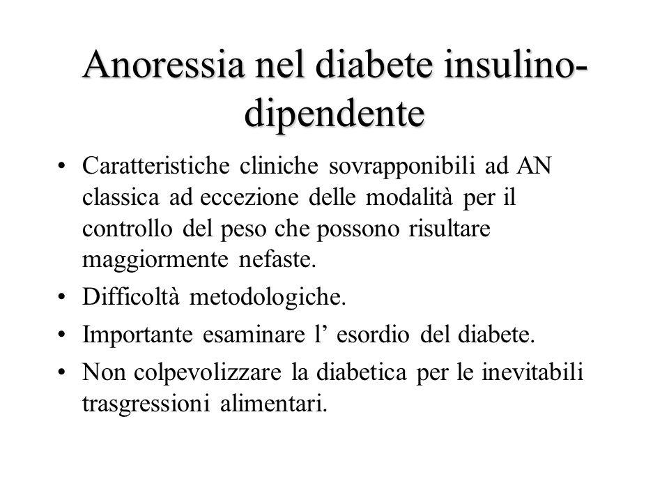 Anoressia nel diabete insulino- dipendente Caratteristiche cliniche sovrapponibili ad AN classica ad eccezione delle modalità per il controllo del peso che possono risultare maggiormente nefaste.