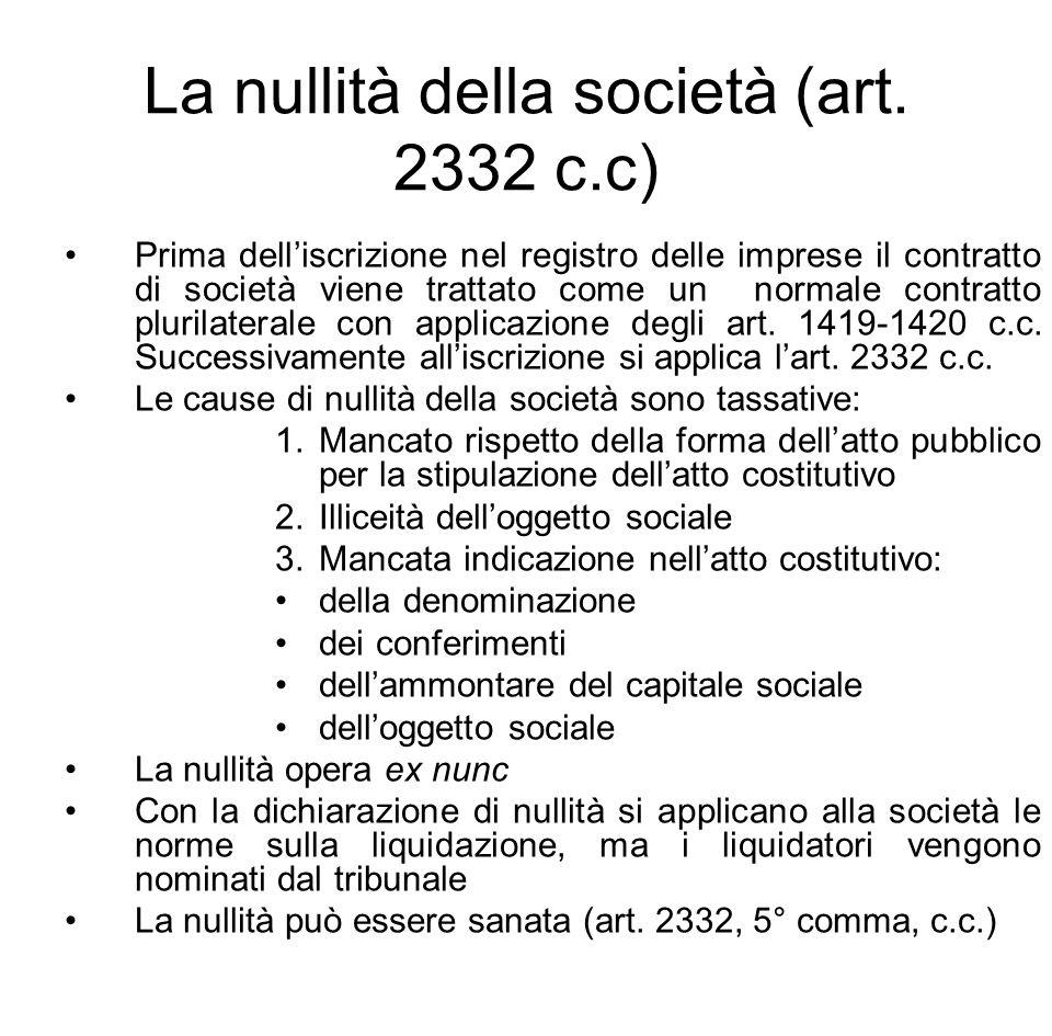 La nullità della società (art. 2332 c.c) Prima dell'iscrizione nel registro delle imprese il contratto di società viene trattato come un normale contr