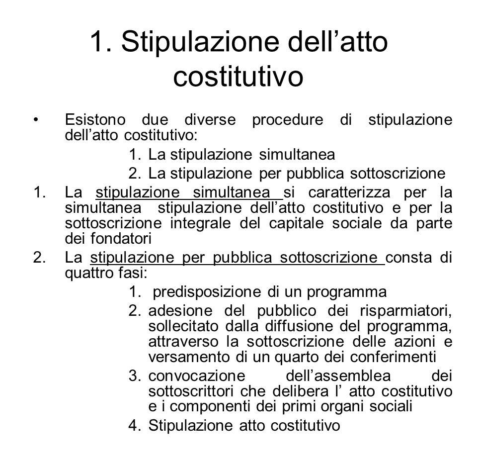 1. Stipulazione dell'atto costitutivo Esistono due diverse procedure di stipulazione dell'atto costitutivo: 1.La stipulazione simultanea 2.La stipulaz