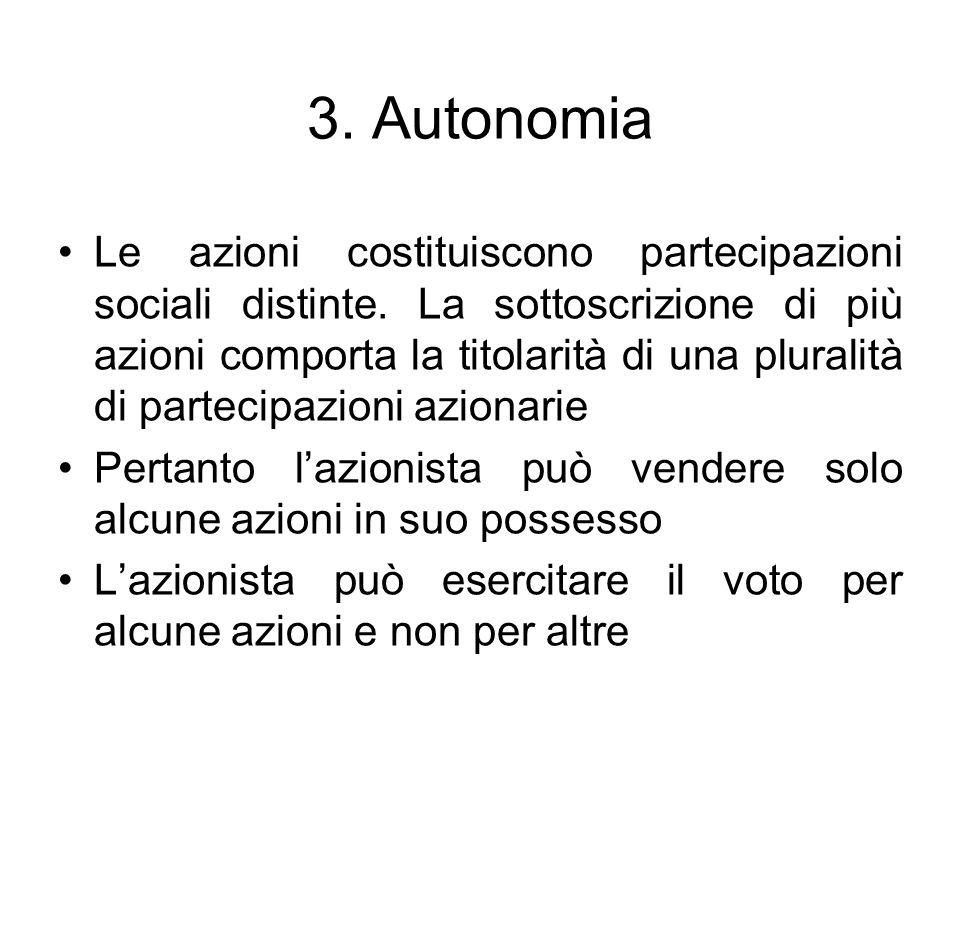 3. Autonomia Le azioni costituiscono partecipazioni sociali distinte. La sottoscrizione di più azioni comporta la titolarità di una pluralità di parte