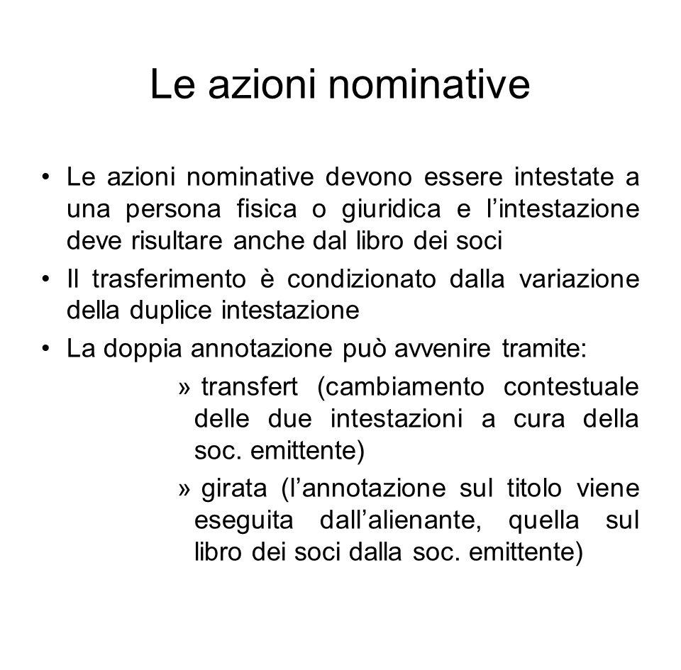 Le azioni nominative Le azioni nominative devono essere intestate a una persona fisica o giuridica e l'intestazione deve risultare anche dal libro dei
