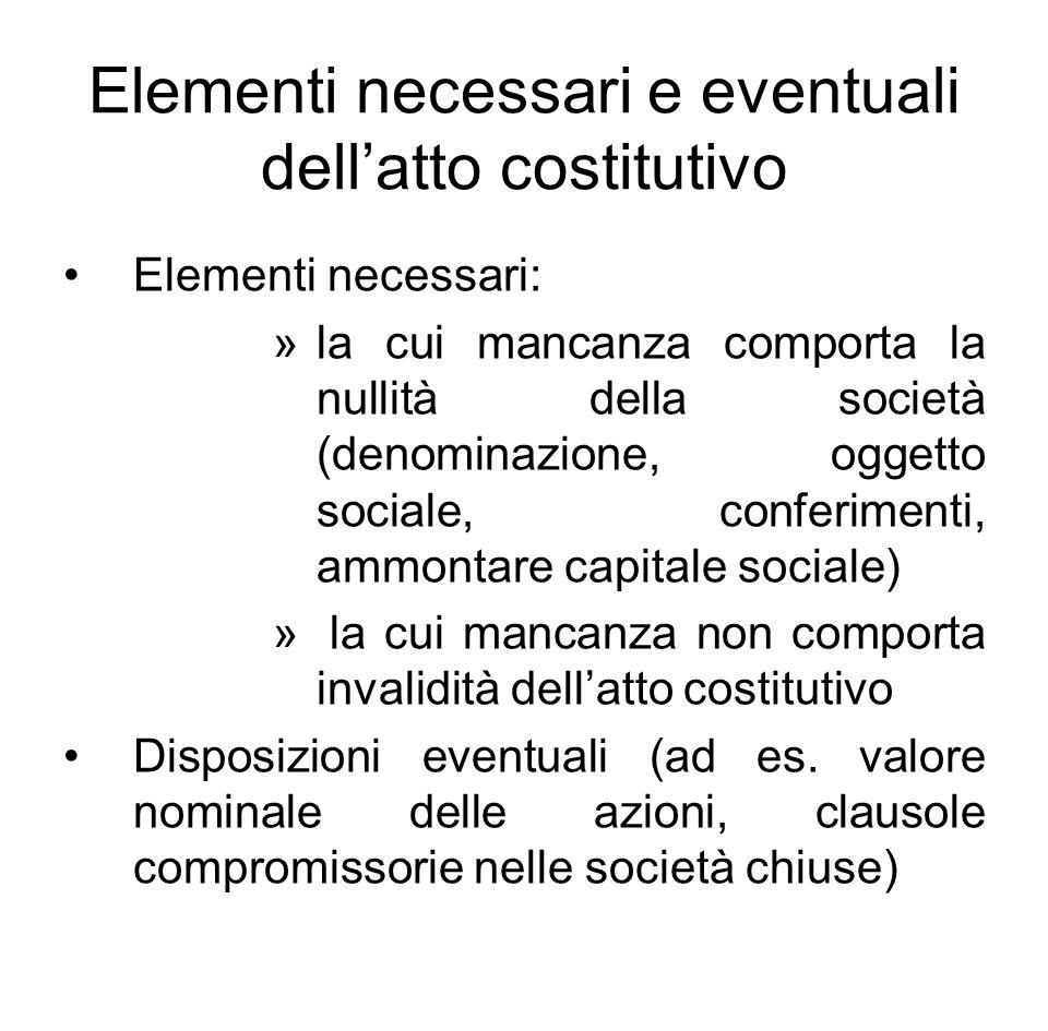 Elementi necessari e eventuali dell'atto costitutivo Elementi necessari: »la cui mancanza comporta la nullità della società (denominazione, oggetto so