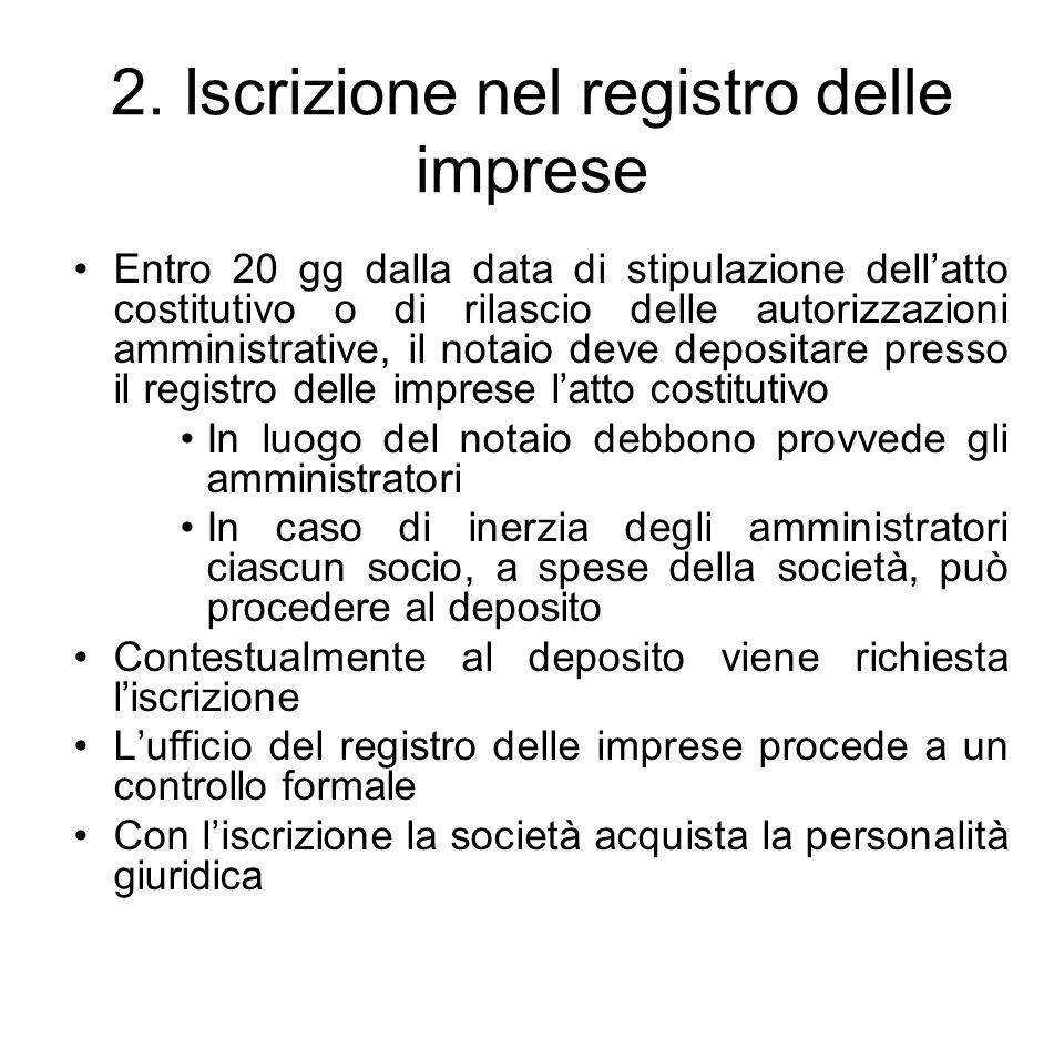 2. Iscrizione nel registro delle imprese Entro 20 gg dalla data di stipulazione dell'atto costitutivo o di rilascio delle autorizzazioni amministrativ