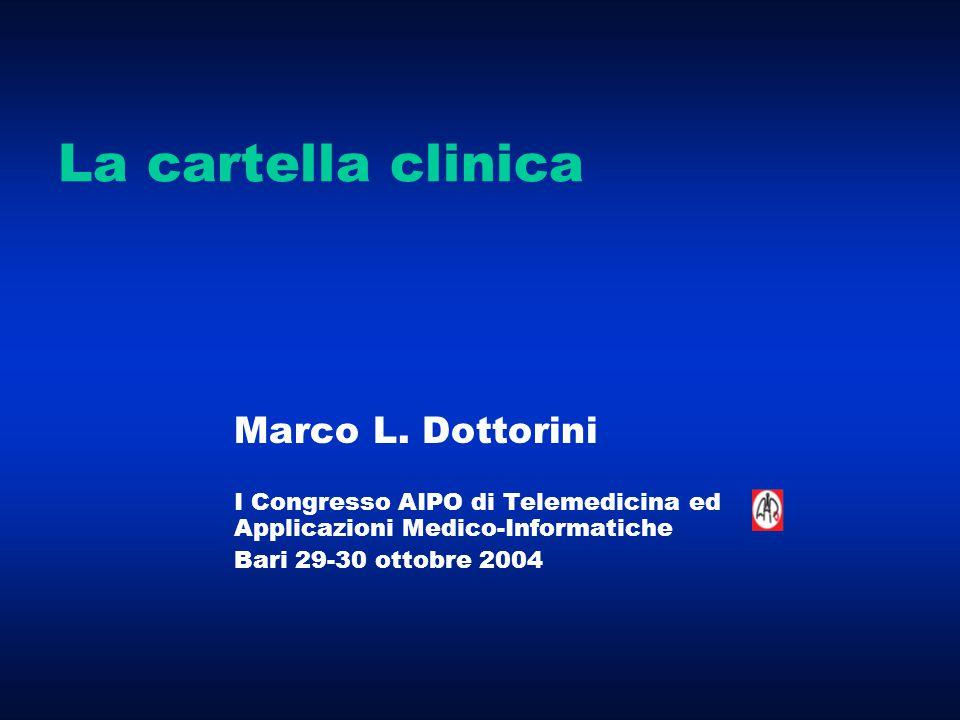 La cartella clinica Marco L. Dottorini I Congresso AIPO di Telemedicina ed Applicazioni Medico-Informatiche Bari 29-30 ottobre 2004