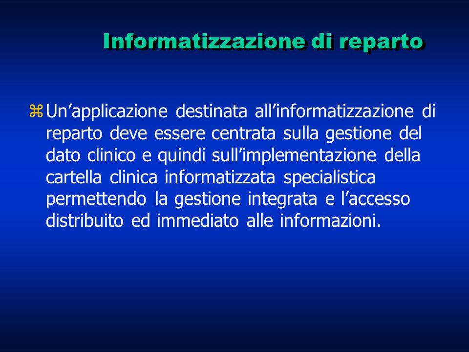 Informatizzazione di reparto zUn'applicazione destinata all'informatizzazione di reparto deve essere centrata sulla gestione del dato clinico e quindi