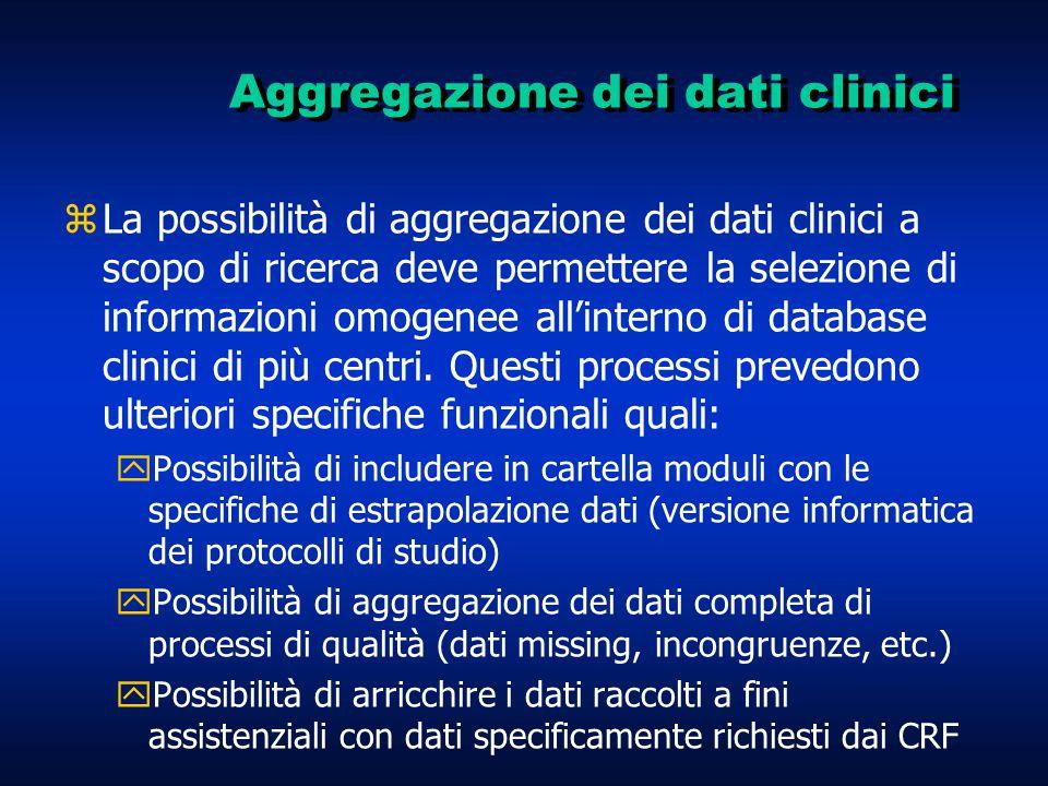 Aggregazione dei dati clinici zLa possibilità di aggregazione dei dati clinici a scopo di ricerca deve permettere la selezione di informazioni omogenee all'interno di database clinici di più centri.