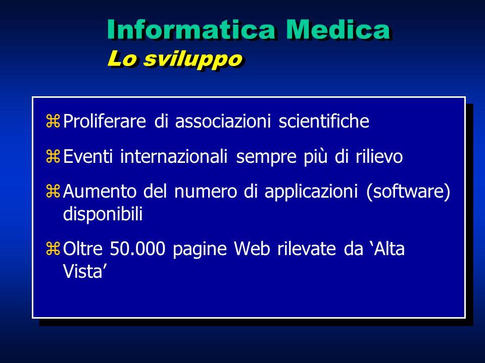 zProliferare di associazioni scientifiche zEventi internazionali sempre più di rilievo zAumento del numero di applicazioni (software) disponibili zOlt