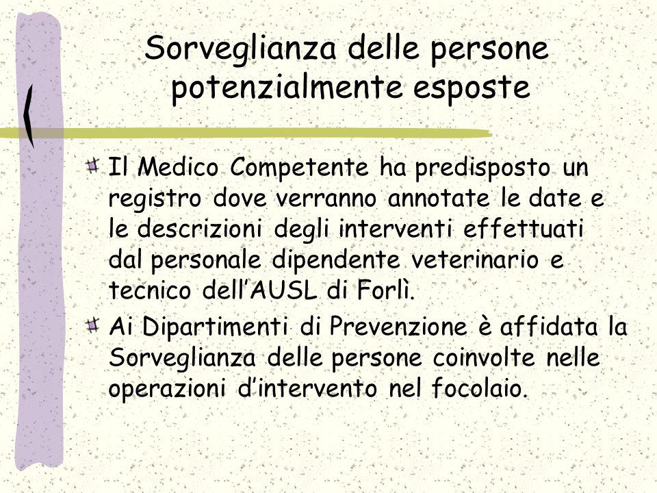 Sorveglianza delle persone potenzialmente esposte Il Medico Competente ha predisposto un registro dove verranno annotate le date e le descrizioni degli interventi effettuati dal personale dipendente veterinario e tecnico dell'AUSL di Forlì.