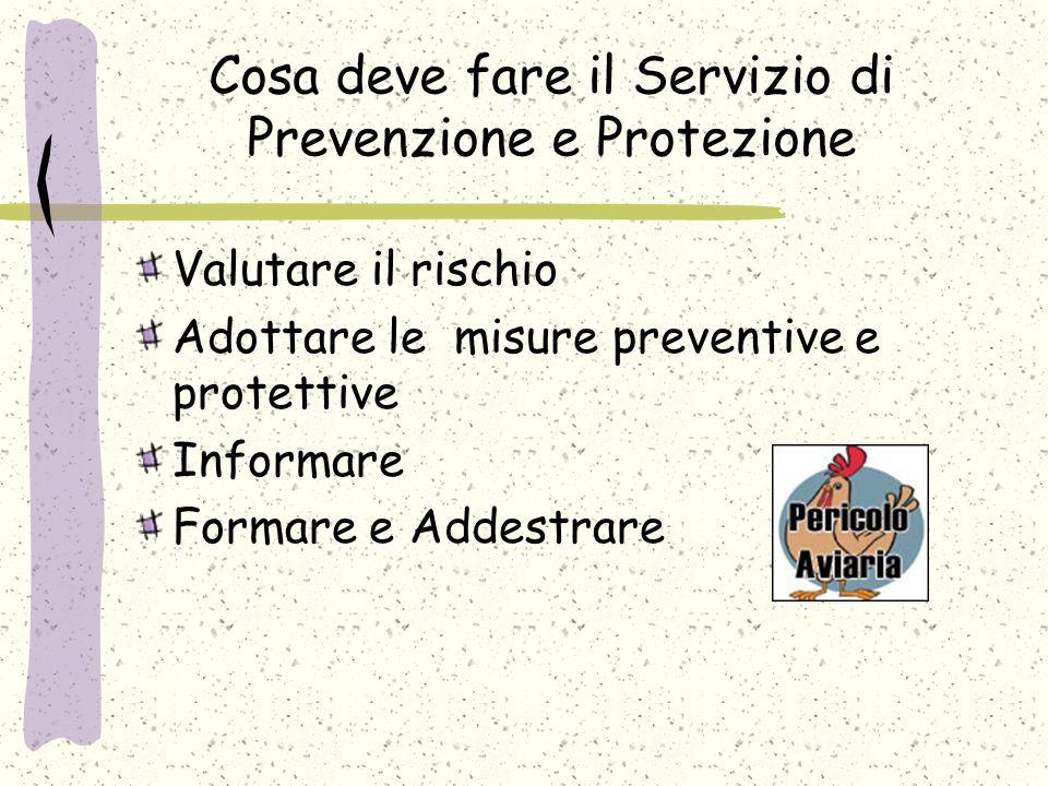Cosa deve fare il Servizio di Prevenzione e Protezione Valutare il rischio Adottare le misure preventive e protettive Informare Formare e Addestrare