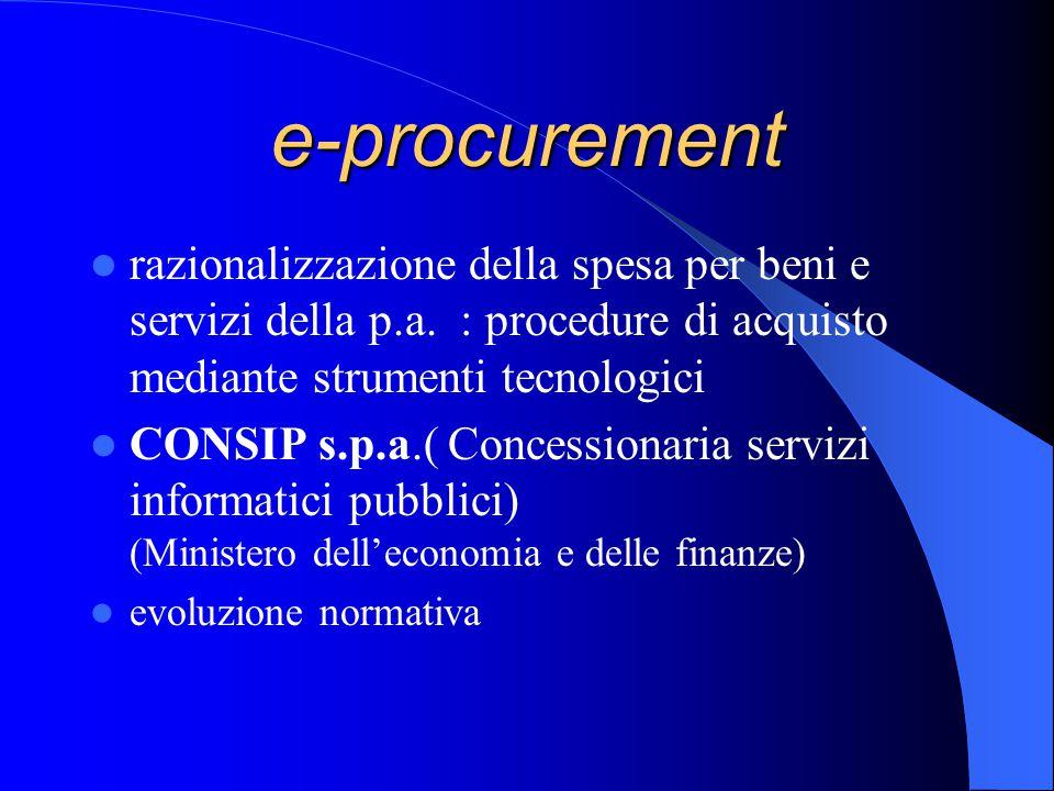 e-procurement razionalizzazione della spesa per beni e servizi della p.a.
