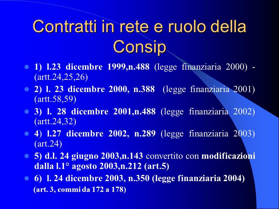 Contratti in rete e ruolo della Consip 1) l.23 dicembre 1999,n.488 (legge finanziaria 2000) - (artt.24,25,26) 2) l.