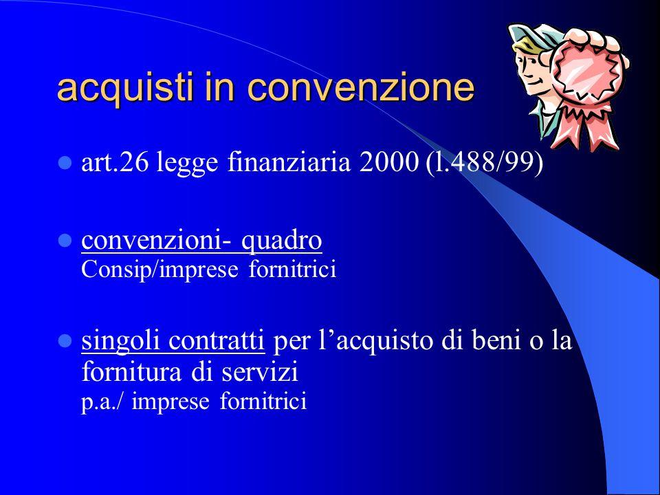 acquisti in convenzione art.26 legge finanziaria 2000 (l.488/99) convenzioni- quadro Consip/imprese fornitrici singoli contratti per l'acquisto di beni o la fornitura di servizi p.a./ imprese fornitrici