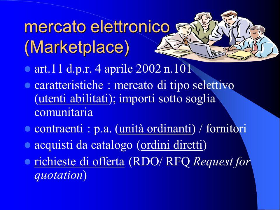 mercato elettronico (Marketplace) art.11 d.p.r. 4 aprile 2002 n.101 caratteristiche : mercato di tipo selettivo (utenti abilitati); importi sotto sogl