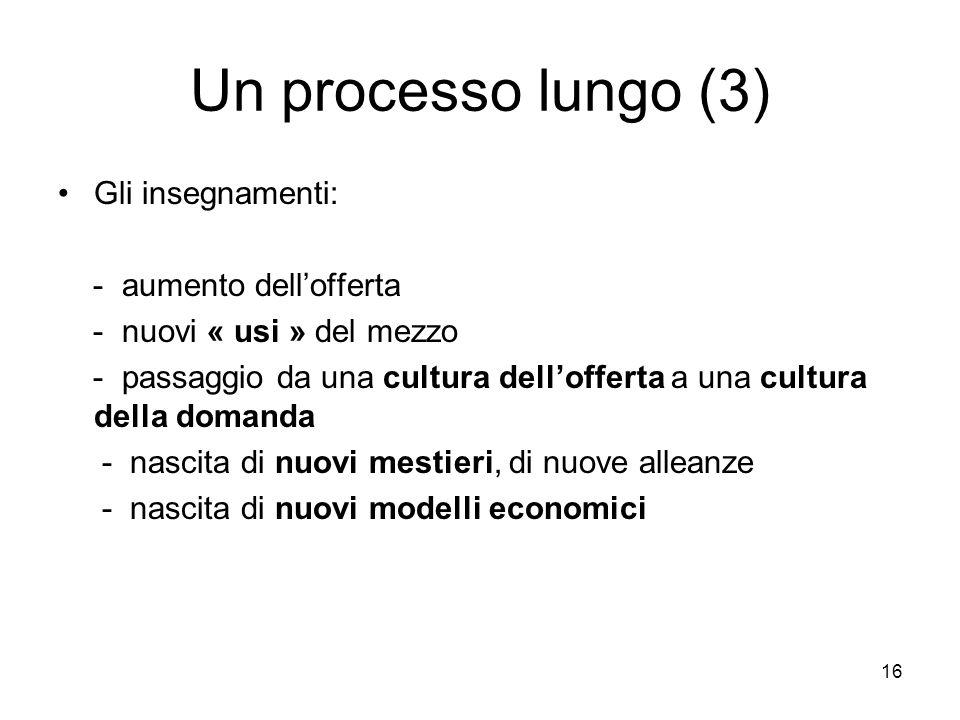 16 Un processo lungo (3) Gli insegnamenti: - aumento dell'offerta - nuovi « usi » del mezzo - passaggio da una cultura dell'offerta a una cultura della domanda - nascita di nuovi mestieri, di nuove alleanze - nascita di nuovi modelli economici