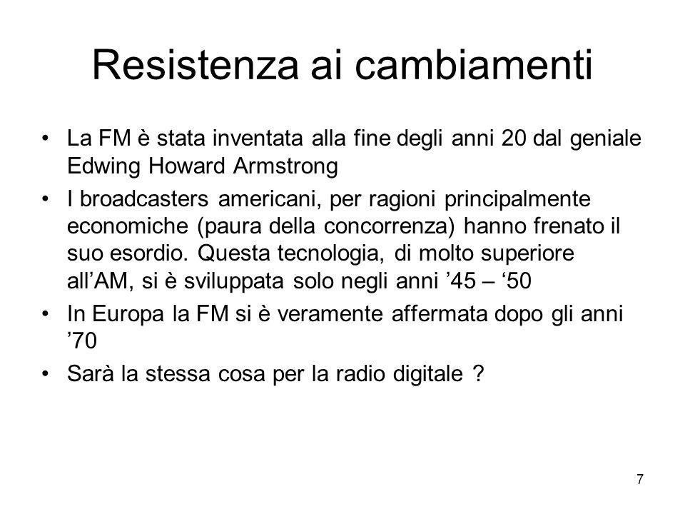 7 Resistenza ai cambiamenti La FM è stata inventata alla fine degli anni 20 dal geniale Edwing Howard Armstrong I broadcasters americani, per ragioni principalmente economiche (paura della concorrenza) hanno frenato il suo esordio.