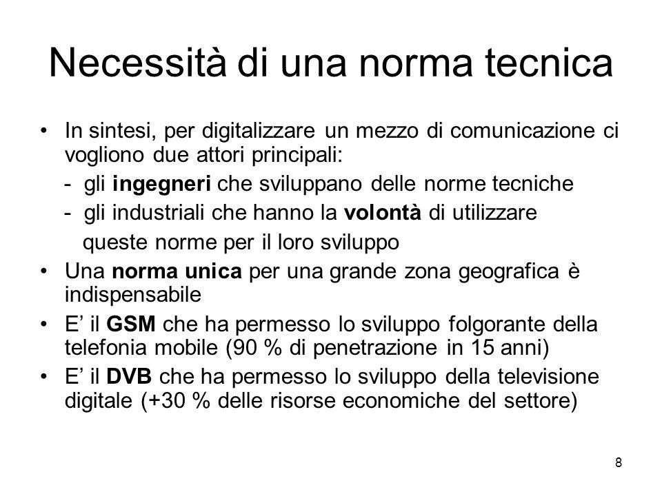 8 Necessità di una norma tecnica In sintesi, per digitalizzare un mezzo di comunicazione ci vogliono due attori principali: - gli ingegneri che sviluppano delle norme tecniche - gli industriali che hanno la volontà di utilizzare queste norme per il loro sviluppo Una norma unica per una grande zona geografica è indispensabile E' il GSM che ha permesso lo sviluppo folgorante della telefonia mobile (90 % di penetrazione in 15 anni) E' il DVB che ha permesso lo sviluppo della televisione digitale (+30 % delle risorse economiche del settore)