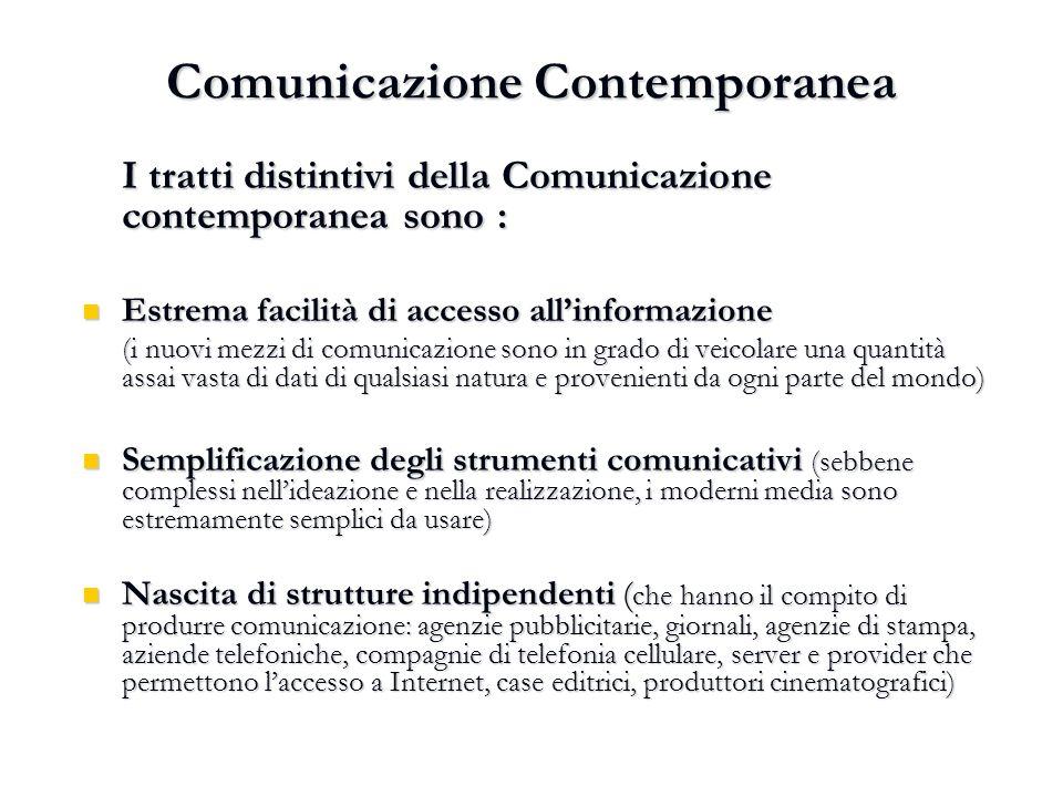 Comunicazione Contemporanea I tratti distintivi della Comunicazione contemporanea sono : Estrema facilità di accesso all'informazione Estrema facilità