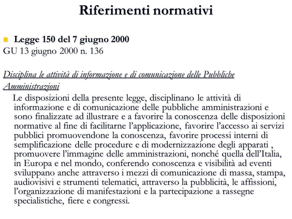Riferimenti normativi Legge 150 del 7 giugno 2000 Legge 150 del 7 giugno 2000 GU 13 giugno 2000 n. 136 Disciplina le attività di informazione e di com