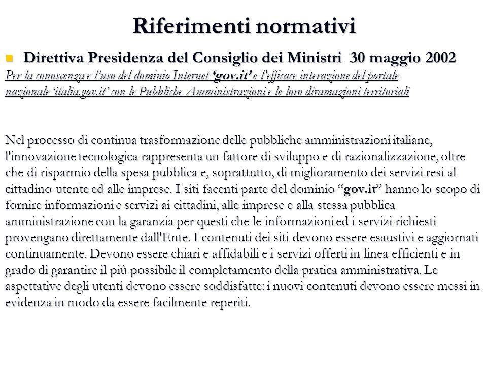 Riferimenti normativi Direttiva Presidenza del Consiglio dei Ministri 30 maggio 2002 Direttiva Presidenza del Consiglio dei Ministri 30 maggio 2002 Pe