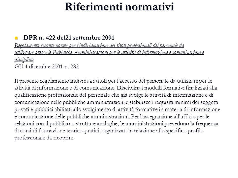 Riferimenti normativi DPR n. 422 del21 settembre 2001 DPR n. 422 del21 settembre 2001 Regolamento recante norme per l'individuazione dei titoli profes