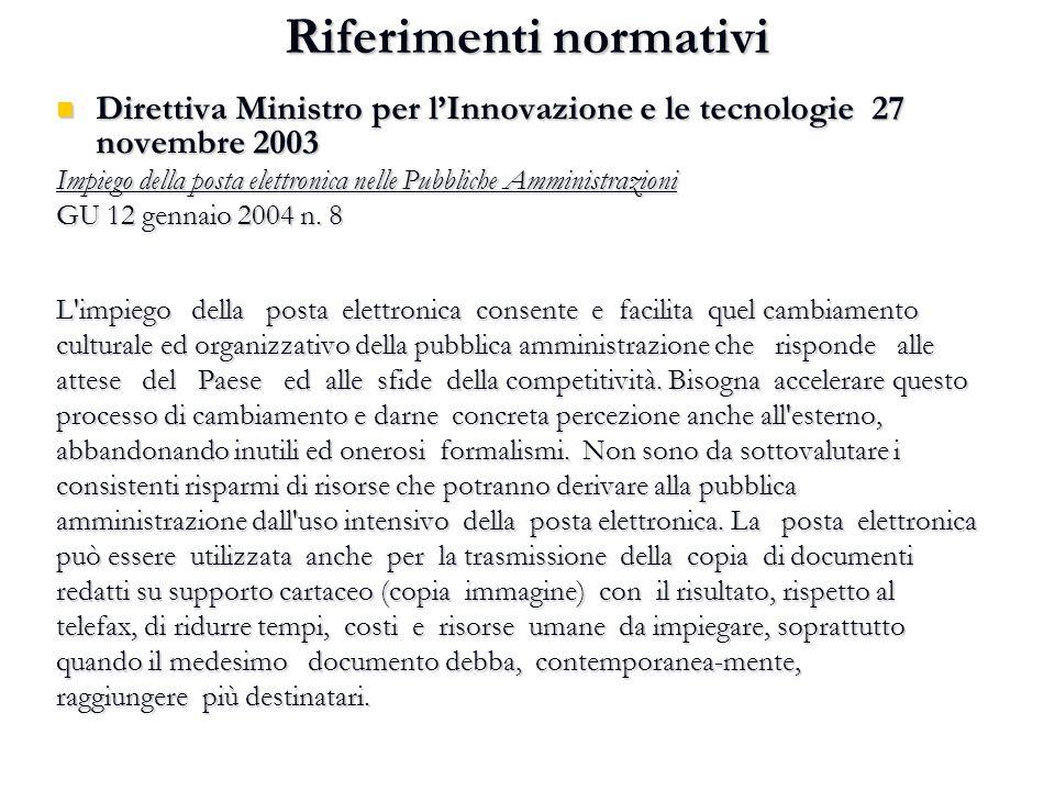 Riferimenti normativi Direttiva Ministro per l'Innovazione e le tecnologie 27 novembre 2003 Direttiva Ministro per l'Innovazione e le tecnologie 27 no