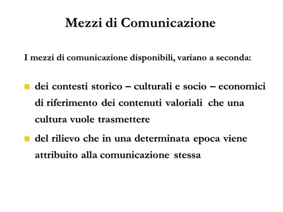 I mezzi di comunicazione disponibili, variano a seconda: dei contesti storico – culturali e socio – economici di riferimento dei contenuti valoriali c