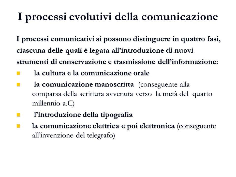 I processi evolutivi della comunicazione I processi comunicativi si possono distinguere in quattro fasi, ciascuna delle quali è legata all'introduzion