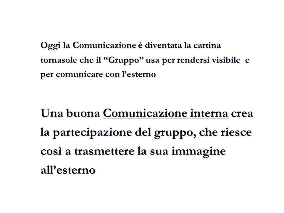 """Oggi la Comunicazione è diventata la cartina tornasole che il """"Gruppo"""" usa per rendersi visibile e per comunicare con l'esterno Una buona Comunicazion"""