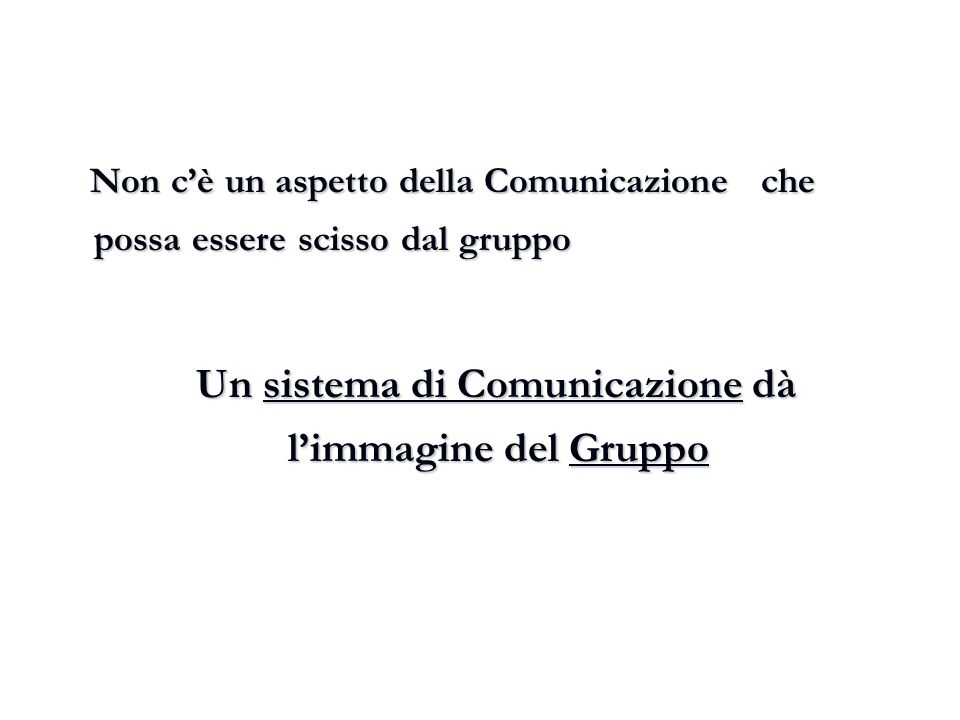 Non c'è un aspetto della Comunicazione che possa essere scisso dal gruppo Non c'è un aspetto della Comunicazione che possa essere scisso dal gruppo Un