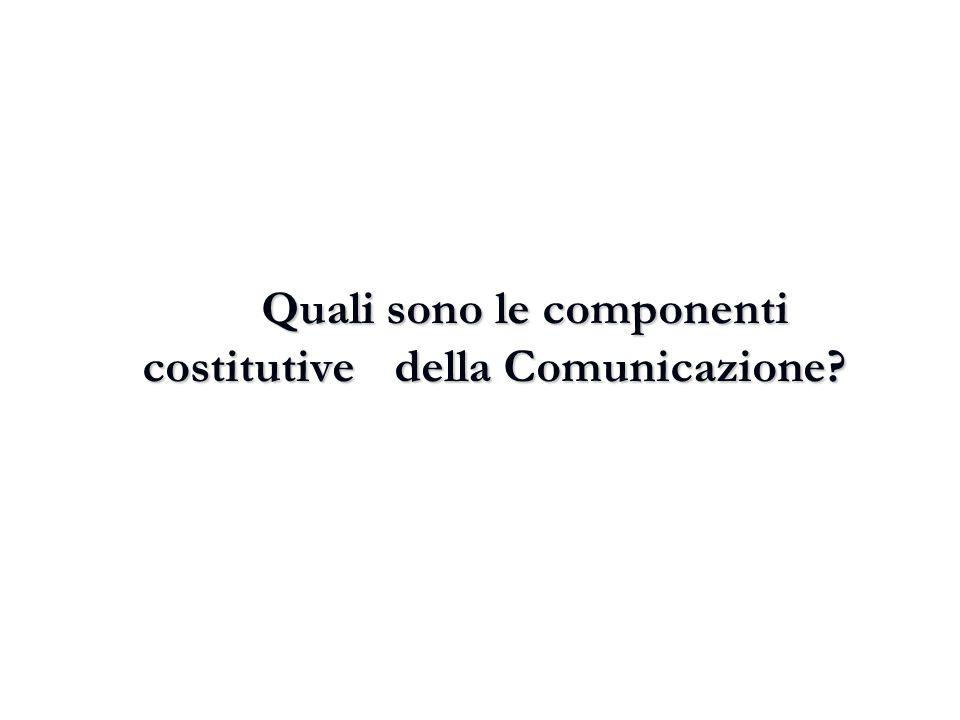Quali sono le componenti costitutive della Comunicazione?