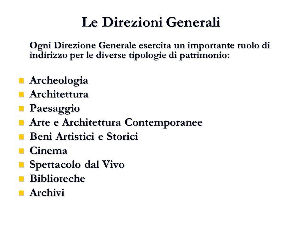Le Direzioni Generali Ogni Direzione Generale esercita un importante ruolo di indirizzo per le diverse tipologie di patrimonio: Archeologia Archeologi