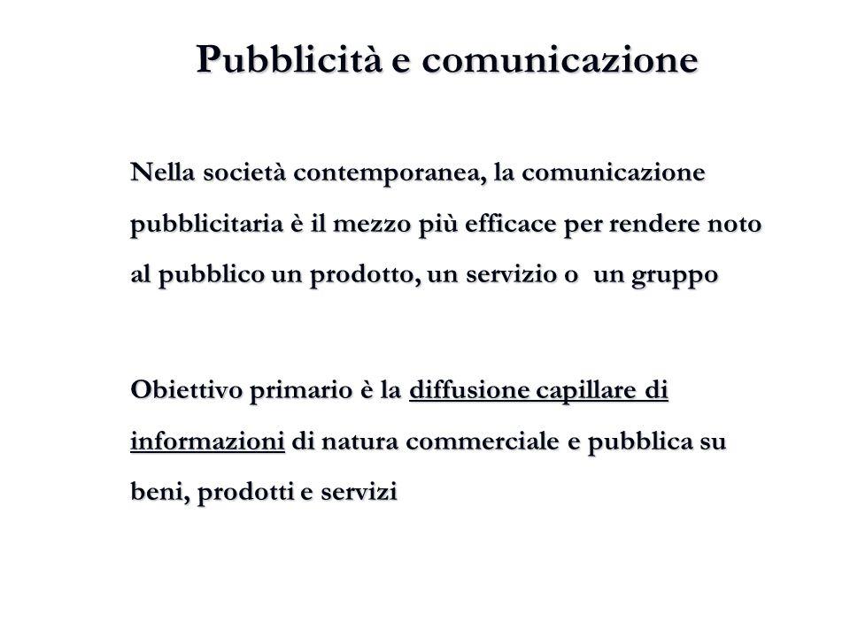 Pubblicità e comunicazione Nella società contemporanea, la comunicazione pubblicitaria è il mezzo più efficace per rendere noto al pubblico un prodott