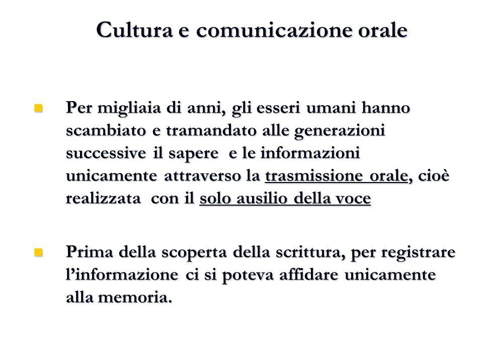 Cultura e comunicazione orale Cultura e comunicazione orale Per migliaia di anni, gli esseri umani hanno scambiato e tramandato alle generazioni succe