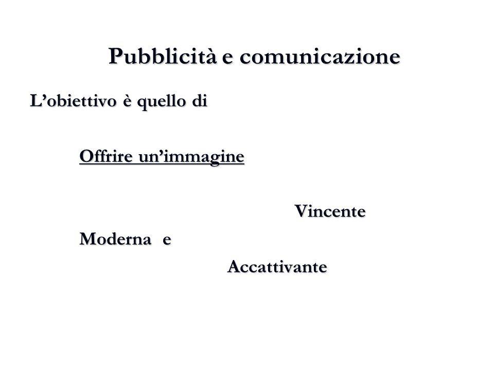 Pubblicità e comunicazione L'obiettivo è quello di Offrire un'immagine Vincente Vincente Moderna e Accattivante
