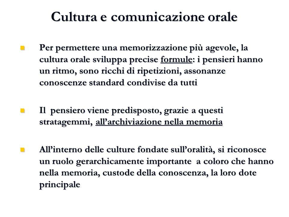 Cultura e comunicazione orale Per permettere una memorizzazione più agevole, la cultura orale sviluppa precise formule: i pensieri hanno un ritmo, son