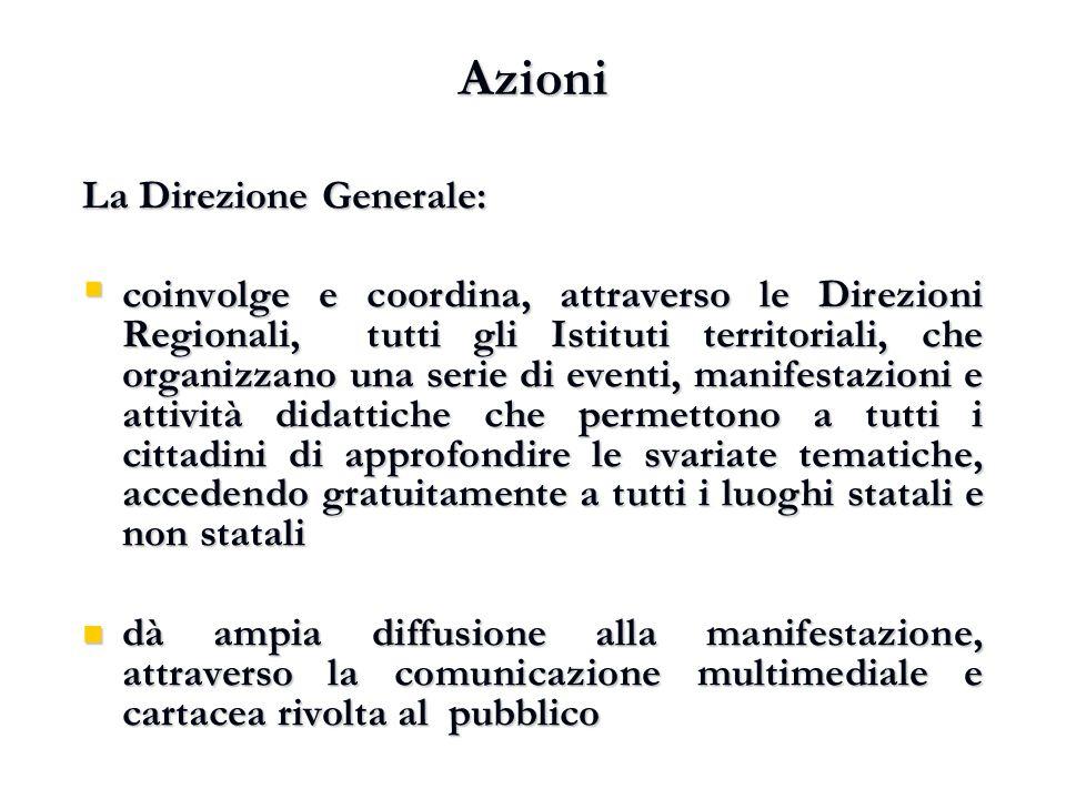 Azioni La Direzione Generale:  coinvolge e coordina, attraverso le Direzioni Regionali, tutti gli Istituti territoriali, che organizzano una serie di