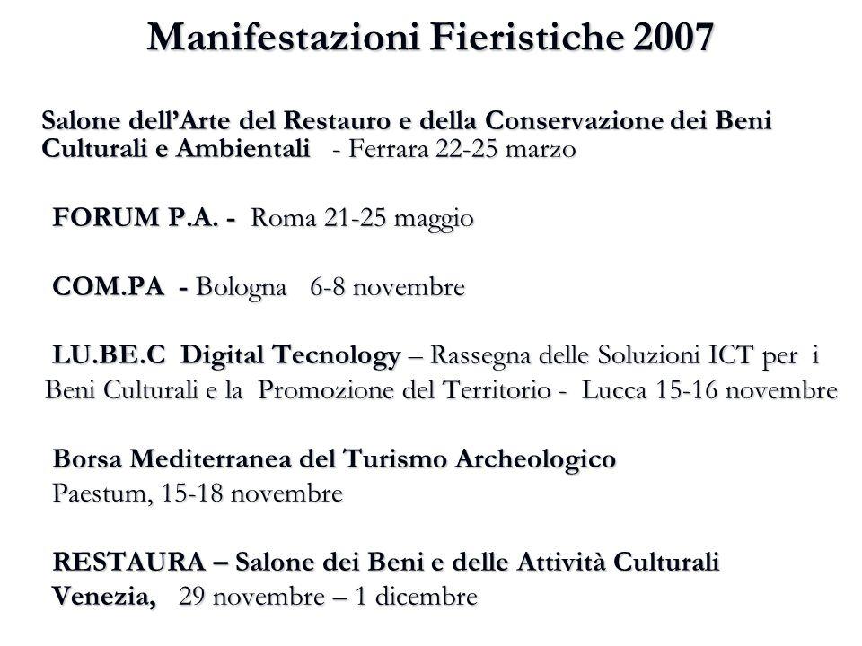 Manifestazioni Fieristiche 2007 Salone dell'Arte del Restauro e della Conservazione dei Beni Culturali e Ambientali - Ferrara 22-25 marzo FORUM P.A. -