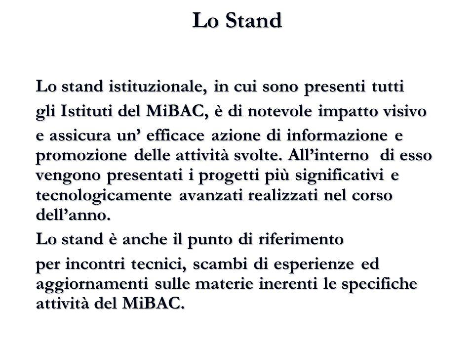 Lo Stand Lo stand istituzionale, in cui sono presenti tutti gli Istituti del MiBAC, è di notevole impatto visivo e assicura un' efficace azione di inf