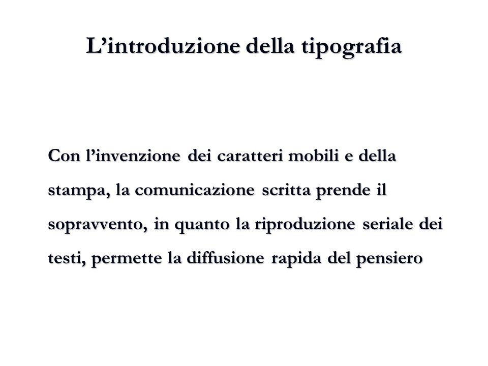 L'introduzione della tipografia Con l'invenzione dei caratteri mobili e della stampa, la comunicazione scritta prende il sopravvento, in quanto la rip