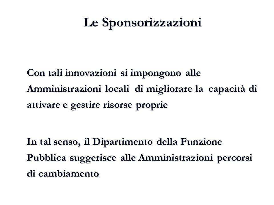 Le Sponsorizzazioni Con tali innovazioni si impongono alle Amministrazioni locali di migliorare la capacità di attivare e gestire risorse proprie In t