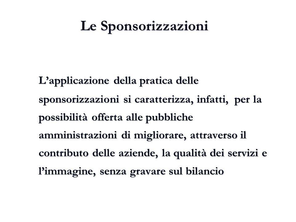 Le Sponsorizzazioni L'applicazione della pratica delle sponsorizzazioni si caratterizza, infatti, per la possibilità offerta alle pubbliche amministra