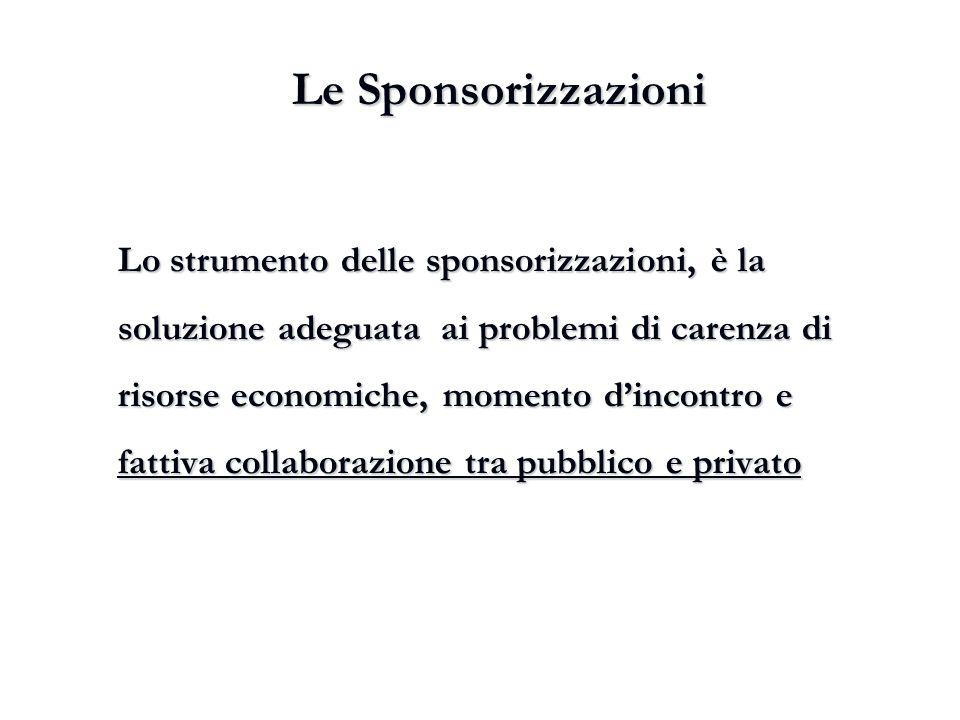 Le Sponsorizzazioni Lo strumento delle sponsorizzazioni, è la soluzione adeguata ai problemi di carenza di risorse economiche, momento d'incontro e fa