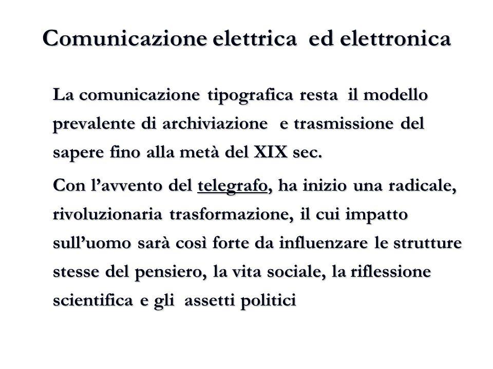 Comunicazione elettrica ed elettronica La comunicazione tipografica resta il modello prevalente di archiviazione e trasmissione del sapere fino alla m