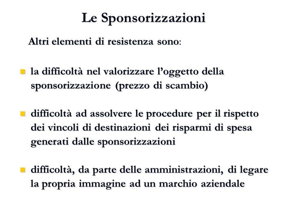 Le Sponsorizzazioni Altri elementi di resistenza sono: Altri elementi di resistenza sono: la difficoltà nel valorizzare l'oggetto della sponsorizzazio